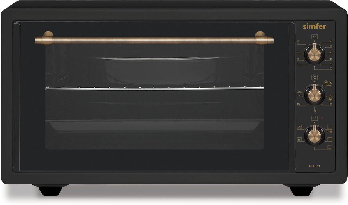 Simfer M4573 мини-печьM4573Полезный объем для приготовления блюд 45 лМультифункциональная духовка5 режимов работыФункции - нижний нагрев, малый гриль, ниж.+верх. нагрев, ниж.+верх. + конвекция, большой гриль, большой гриль + конвекция)Механическое управлениеТаймер на 90 мин.Акустическии? сигнал окончания времени приготовления при работе таймераТермостат (t нагрева 0–250°С)Галогеновое освещениеДверца - двойное стекло Комплектация: 2 противня (стандартный и глубокий с антипригарным покрытием), хромированная решетка Мощность: 1400 Вт Вес: 11 кгЦвет продукта: рустик антрацит