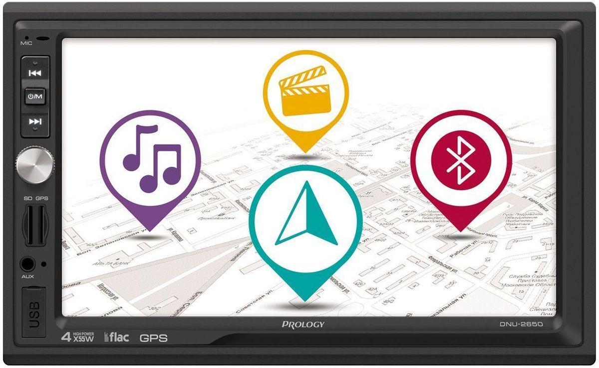 Prology DNU-2650, Black автомагнитола4607940900528Мультимедийный навигационный центр Prology DNU-2650 формата 2DIN со встроенным Bluetooth-модулем, работающим в режимах hands-free и высококачественной передачи потокового аудио со смартфона. Поддерживает современные цифровые носители – USB-накопители и SD-карты с объёмом до 32 ГБ. Наряду с привычными аудиоформатами MP3 и WMA поддерживает losless-формат FLAC, обеспечивающий качество звучания аналогичное оригинальному CD.Лицензионное навигационное ПО Навител Навигатор не требует дополнительной покупки карт, в комплект уже входят карты России и еще 11 стран, всего 370000 населенных пунктов, в том числе больше 30000 – с HD-картографией. Поддерживается подключение штатных кнопок управления аудиосистемой на руле (интерфейс SWC).