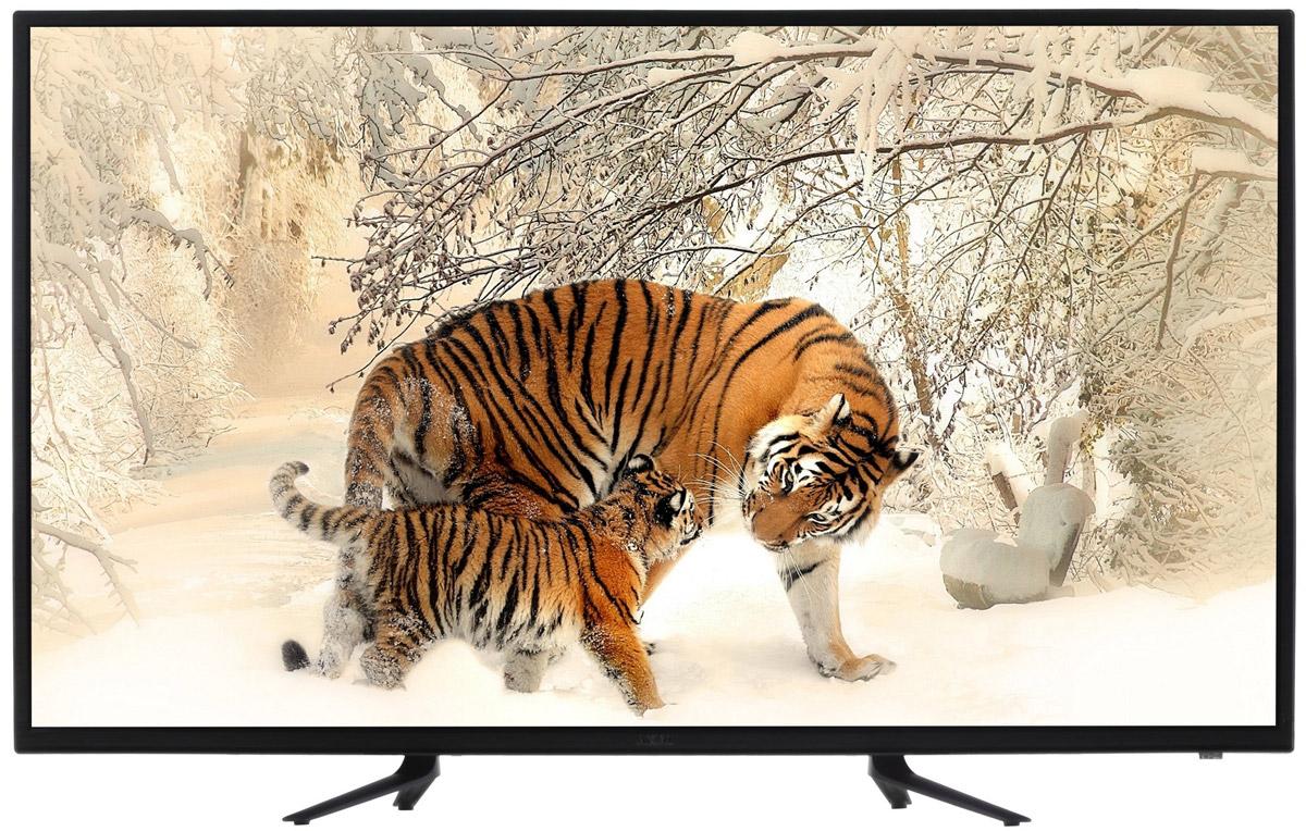 Akai LEA-49K40M телевизорLEA-49K40MAkai LEA-49K40M - телевизор, который поддерживает разрешение Full HD (1920 х 1080).Высокие показатели яркости (230 кд/м2.) и контрастности (1200:1), в сочетании со светодиодной подсветкой Direct LED, обеспечивают изображение высокой четкости с естественной цветопередачей. Качество изображения улучшает также система шумоподавления.Акустическая система телевизора представляет собой пару динамиков каждый мощностью по 9 Вт. Производится автоматическое ограничение уровня громкости (AVL).Телевизор Akai LEA-49K40M оснащен одним тюнером, принимающим системы как аналогового (PAL/SECAM BG/DK/I) , так и цифрового (DVB-Т/Т2/C/S2) вещания.В памяти представленной модели сохраняется до 6299 телеканалов. Есть возможность сделать запись телепрограммы цифрового вещания на USB-носитель, используя таймер. Также доступна функция Time-Shift, делающая паузу в просмотре телепередачи для последующего возобновления в удобное время.Интерфейс USB и встроенный медиаплеер дают возможность воспроизводить с помощью телевизорафайлы с внешних совместимых носителей - с флэшки или внешнего жесткого диска.