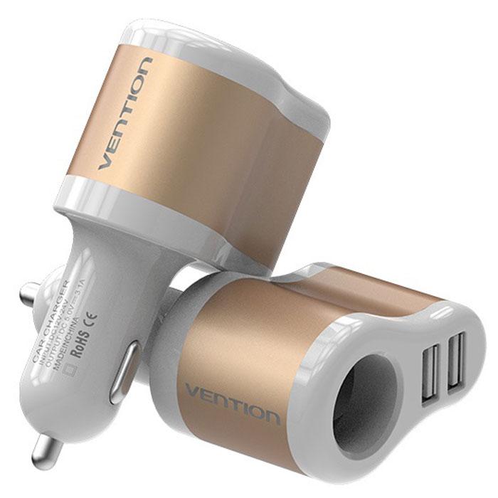 Vention CJBW0 3.1A-2xUSB AF + разветвитель, White Gold автомобильное зарядное устройствоCJBW0Vention CJBW0 - автомобильный адаптер для зарядки устройств от разъема для прикуривателя автомобиля посредством USB-кабеля и других устройств.Модель обладает функцией защиты от короткого замыкания. Может одновременно заряжать сразу 3 устройства без потерь. Синяя подсветка USB-разъемов обеспечит видимость для коммутации устройств, а также подчеркнет индивидуальный интерьер в салоне автомобиля.Материал корпуса выполнен из несгораемого материала. Продукция соответствует следующим сертификатам: RoHS, CE, FCC, TIA, ISO.Совместимость: устройства, поддерживающие силу тока 2.1А или 1АМатериал корпуса: алюминий/АБС-пластик