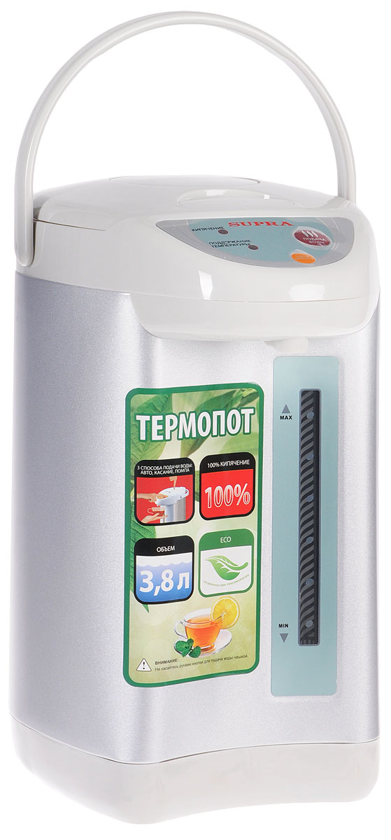 Supra TPS-3002 термопотTPS-3002Пока еще редкие чайники оборудованы терморегулятором. Да и держат температуру воды они минут 30, не больше. Другое дело - термопот - такой, как SUPRA TPS-3002. С ним горячая вода (80-85 °С) всегда будет в доступе. Это особенно удобно, когда в семье есть маленькие дети. По мощности такие приборы, конечно, уступают чайникам, но наш герой - приятное исключение. Полный объем - 3.8 литра воды - он вскипятит за 20 минут. Есть режим повторного кипячения: здесь вам придется ждать минуты три, не больше. Внутренняя камера прибора сделана из нержавеющей стали, так что на качество воды вы жаловаться не будете. Тем более что устройство оборудовано фильтром для задержания накипи. Термопот оборудован ручным и электрическим насосом.