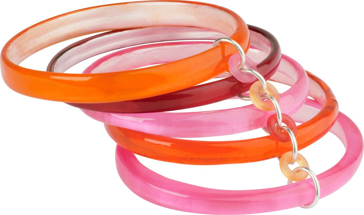Браслет Lalo Treasures, цвет: розовый, оранжевый. Bn2468Браслет для шармовОригинальный браслет Lalo Treasures выполнен из ювелирной смолы и металлического сплава. Декоративные элементы собраны на крупную цепочку.Стильное украшение поможет дополнить любой образ и привнести в него завершающий яркий штрих.
