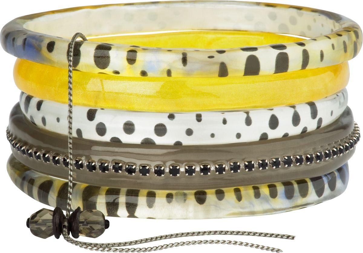 Браслет Lalo Treasures, цвет: коричневый, желтый. Bn2503Браслет с подвескамиОригинальный браслет Lalo Treasures выполнен из ювелирной смолы и металлического сплава. Декоративные элементы собраны на металлическую цепочку с бусинами.Стильное украшение поможет дополнить любой образ и привнести в него завершающий яркий штрих.