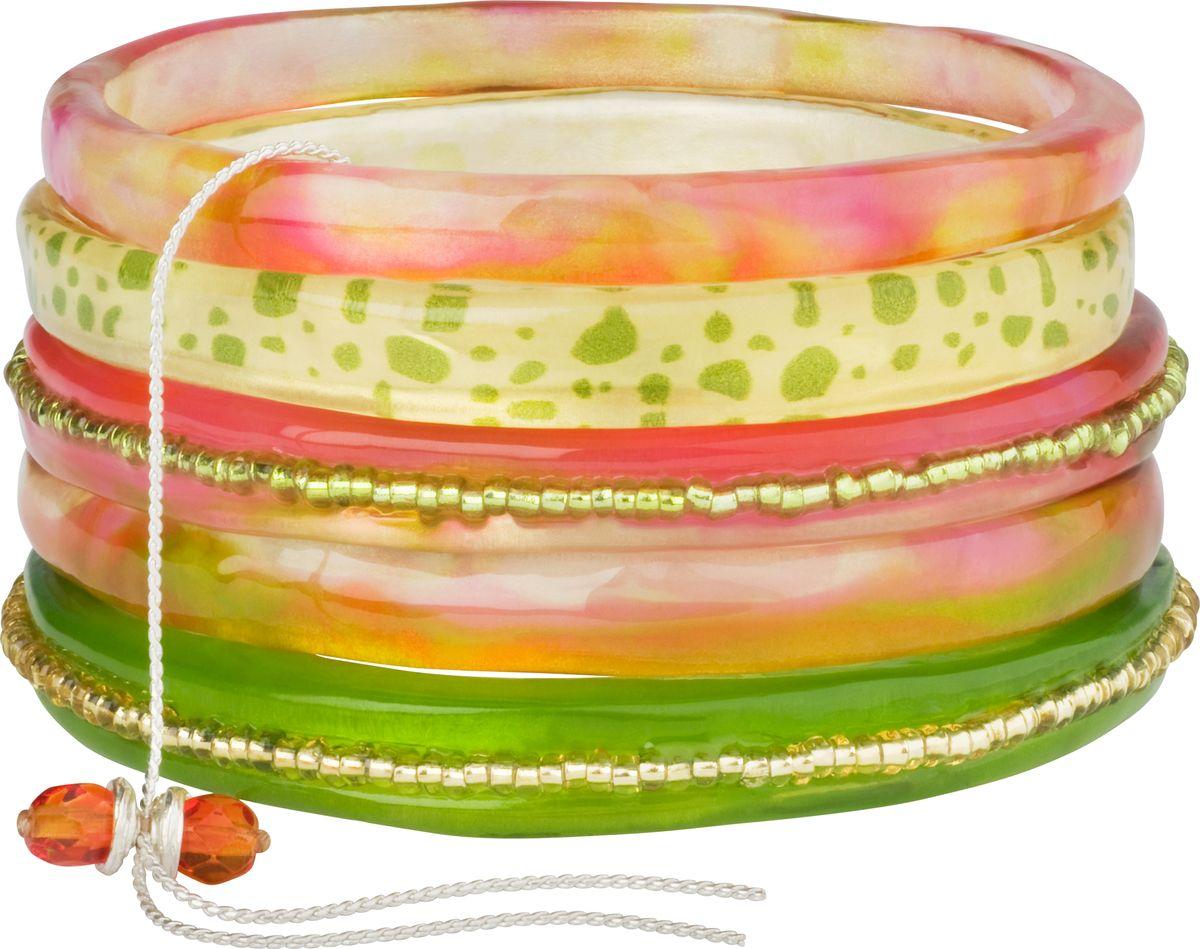 Браслет Lalo Treasures, цвет: зеленый, розовый. Bn2514Браслет с подвескамиОригинальный браслет Lalo Treasures выполнен из ювелирной смолы и металлического сплава. Декоративные элементы собраны на металлическую цепочку с бусинами.Стильное украшение поможет дополнить любой образ и привнести в него завершающий яркий штрих.