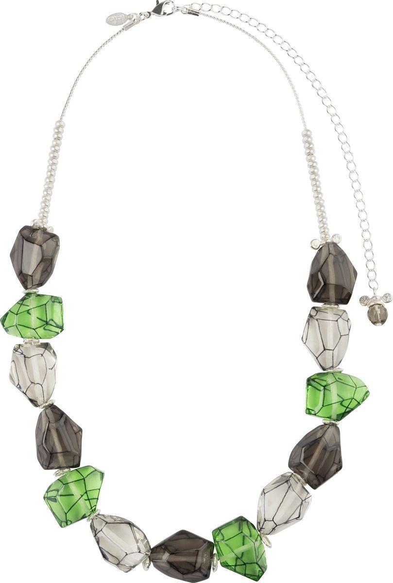 Ожерелье Lalo Treasures, цвет: зеленый, серый. N1462Колье (короткие одноярусные бусы)Ожерелье Lalo Treasures выполнено из металлического сплава. Фурнитура изготовлена из качественного сплава ювелирной смолы. Модель застегивается на карабин, регулируется по длине.