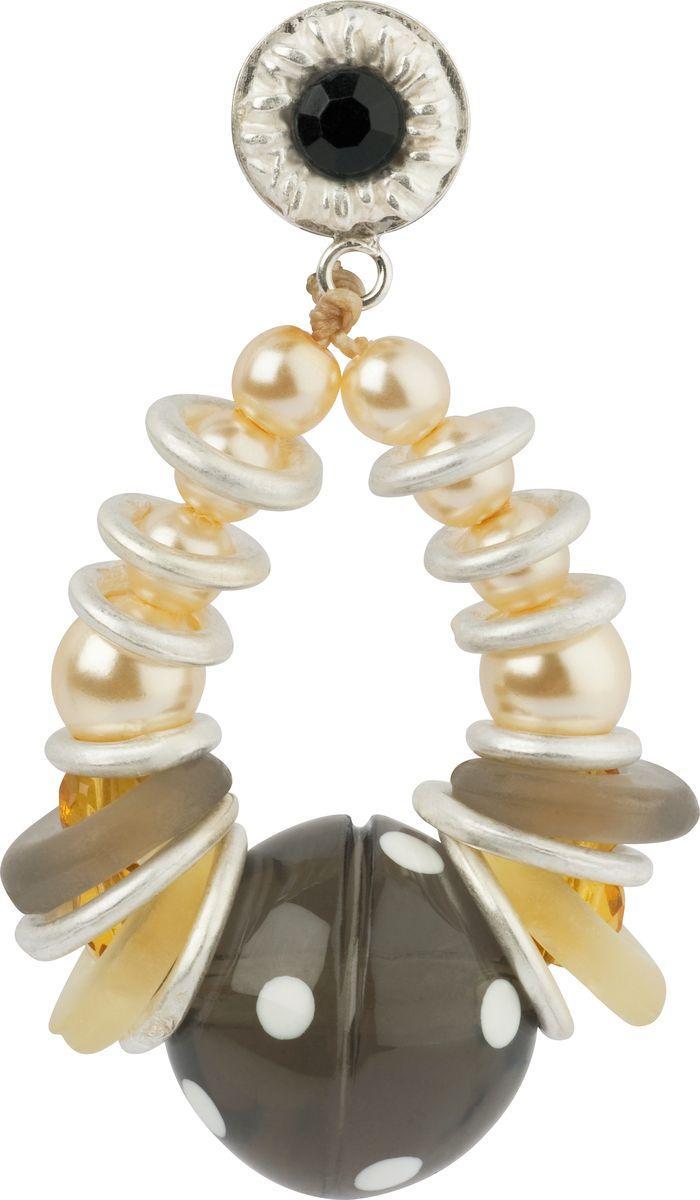 Серьги Lalo Treasures, цвет: серый, светло-коричневый. E3464/4Серьги-кольцаОригинальные серьги Lalo Treasures изготовлены из металлического сплава, дополнены декоративными элементами из ювелирной смолы.Изделие застегивается на замок-гвоздик с заглушкой, который надежно зафиксирует серьги.Стильные серьги не оставят равнодушной ни одну любительницу изысканных украшений и помогут создать собственный неповторимый образ.