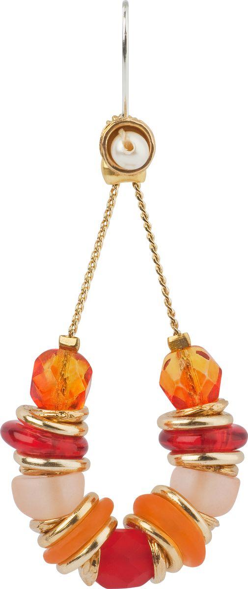Серьги Lalo Treasures, цвет: оранжевый, золотой. E3484/3Серьги с подвескамиОригинальные серьги Lalo Treasures изготовлены из металлического сплава, дополнены декоративными элементами из ювелирной смолы.Изделие застегивается на замок-петля, который надежно зафиксирует серьги.Стильные серьги не оставят равнодушной ни одну любительницу изысканных украшений и помогут создать собственный неповторимый образ.