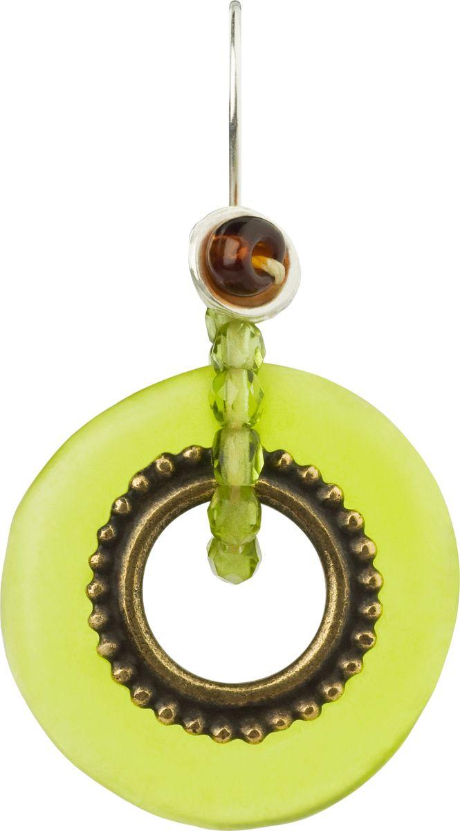 Серьги Lalo Treasures, цвет: светло-зеленый. E3502/4Серьги-кольцаОригинальные серьги Lalo Treasures изготовлены из металлического сплава, дополнены декоративными элементами из ювелирной смолы.Изделие застегивается на замок-пряжка, которая надежно зафиксирует серьги.Стильные серьги оформлены нежной подвеской на бусинах в форме кольца, они не оставят равнодушной ни одну любительницу изысканных украшений и помогут создать собственный неповторимый образ.