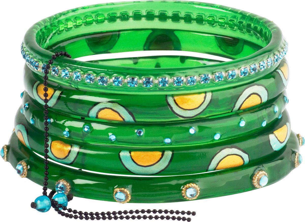 Браслет Lalo Treasures, цвет: зеленый, желтый. B2441/2Ажурная брошьОригинальный браслет Lalo Treasures выполнен из ювелирной смолы и металлического сплава. Декоративные элементы собраны на металлическую цепочку с бусинами.Стильное украшение поможет дополнить любой образ и привнести в него завершающий яркий штрих.