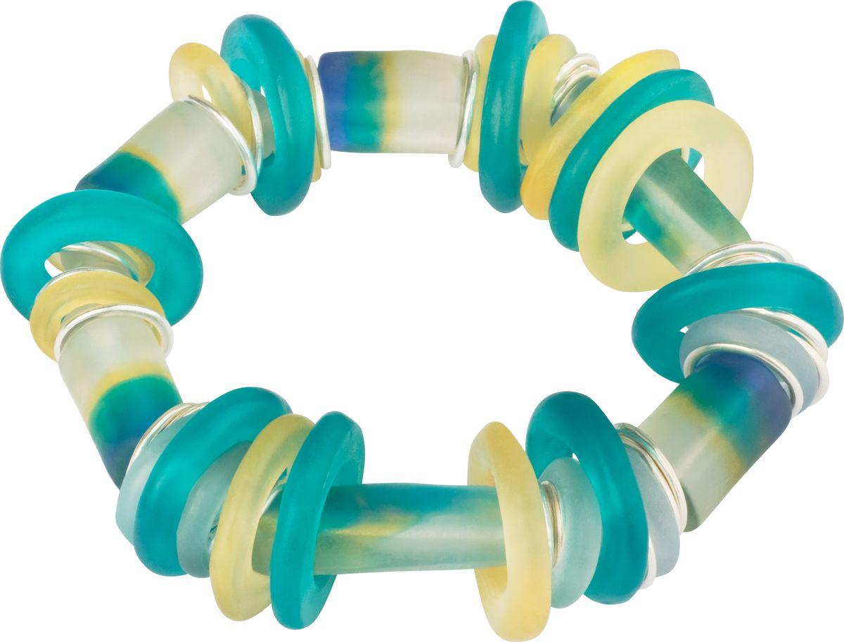Браслет Lalo Treasures, цвет: бирюзовый, желтый. B2504/239864|Серьги с подвескамиОригинальный браслет Lalo Treasures выполнен из ювелирной смолы и металлического сплава. Декоративные элементы собраны на эластичной резинке, с помощью которой браслет растягивается до необходимого размера.Стильное украшение поможет дополнить любой образ и привнести в него завершающий яркий штрих.