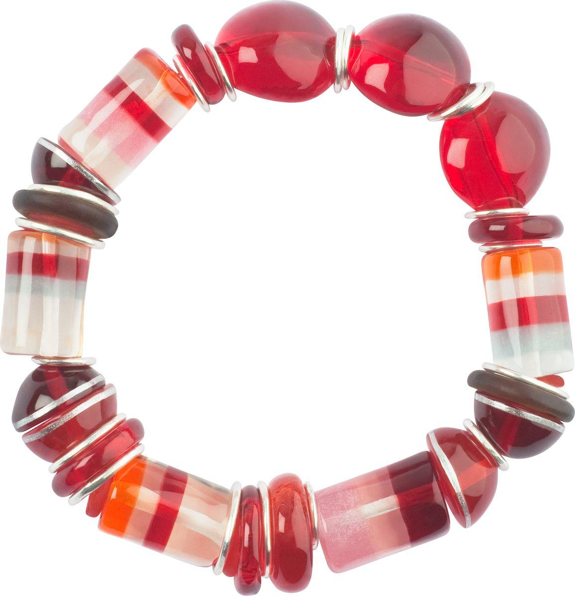 Браслет Lalo Treasures, цвет: красный, розовый. B2526/2Браслет с подвескамиОригинальный браслет Lalo Treasures выполнен из ювелирной смолы и металлического сплава. Декоративные элементы собраны на эластичной резинке, с помощью которой браслет растягивается до необходимого размера.Стильное украшение поможет дополнить любой образ и привнести в него завершающий яркий штрих.