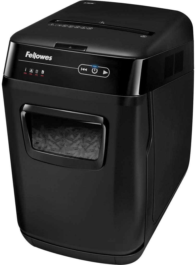 Fellowes AutoMax 130C, Black шредерFS-46801AutoMax™ 130C – Компактный шредер с автоподачей документов для использования в малом офисе. Рекомендуемая нагрузка до 260 листов в день.Загрузка лотка - 130 листов. Перекрестная резка на фрагменты размером 4х51 мм соответствуют P-3 уровню секретности по DIN 66399.Шредер с автоподачей полностью пользователя от участия в уничтожении. Достаточно загрузить стопку документов в удобно расположенный лоток, нажать кнопку старт и вы можете быть свободны. Благодаря инновационной технологии accufeed уничтожение произойдет в полностью автоматическом режиме.