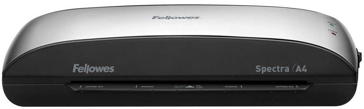 Fellowes Spectra A4 ламинаторFS-57378Fellowes Spectra A4 – универсальный ламинатор начального уровня для малого или домашнего офиса. Ламинатор Spectra A4 отличается современным компактным корпусом и предназначен для работы с пленками толщиной до 125 мкм. Максимальный формат документа – А4. Ламинатор имеет один универсальный температурный режим.Spectra проста в управлении и не требует дополнительных настроек. Зеленый световой сигнал подскажет о готовности уже через 4 минуты после включения. Рычаг освобождения поможет изъять неправильно поданный документ в ламинатор. Корпус ламинатора не перегревается и безопасен при прикосновении.Ламинатор Spectra A4 позволяет надежно заламинировать документы, презентационные и рекламные материалы, фотографии, грамоты, рисунки, открытки, визитки, инструкции и многое другое. Стартовый набор включает пленку для ламинирования 10 документов.Система нагрева: нагреваемые валыКоличество валов: 2Время нагрева: 4 минутыШирина входного отверстия: 230 ммДиапазон толщины пленки 80-125 мкмМаксимальная толщина ламинирования (документ в пленке): 0,4 ммЛаминирование фотографий