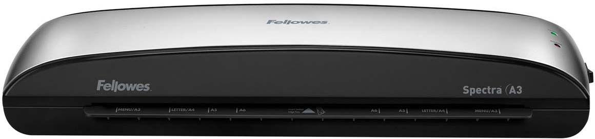 Fellowes Spectra A3 ламинаторFS-57383Spectra A3 – универсальный ламинатор начального уровня для малого или домашнего офиса. Ламинатор Spectra A3 отличается современным компактным корпусом и предназначен для работы с пленками толщиной до 125 мкм. Максимальный формат документа – А3. Ламинатор имеет один универсальный температурный режим.Spectra проста в управлении и не требует дополнительных настроек. Зеленый световой сигнал подскажет о готовности уже через 4 минуты после включения. Рычаг освобождения поможет изъять неправильно поданный документ. Корпус ламинатора не перегревается и безопасен при прикосновении.Ламинатор Spectra A3 позволяет надежно заламинировать документы, презентационные и рекламные материалы, фотографии, грамоты, рисунки, открытки, визитки, инструкции и многое другое. Стартовый набор включает пленку для ламинирования 10 документов.Основные характеристики:Диапазон плёнок 75 – 125 мкмСкорость ламинирования 30 см/мин.Время нагрева -4 мин.Гарантия 1 годТехнологии:Jam Free механизм ClearPath обеспечивает 100% работу без заторов и зажевывания документов при использовании расходных материалов Fellowes. Auto Shut OFF Автоматическое отключение ламинатора после простоя.