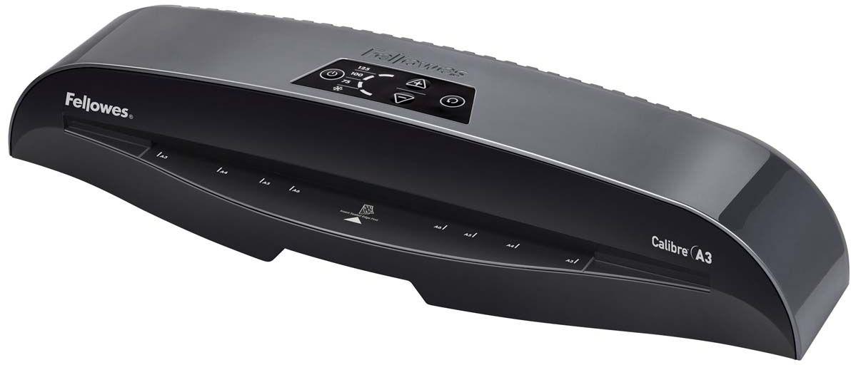 Fellowes Calibre A3 ламинаторFS-57401Fellowes Calibre A3 для использования в малом офисе. Calibre заменяет модель Callisto, которая будет снята с производства. Благодаря технологии InstaHeat ламинатор Calibre нагревается всего за 60 секунд. Новый ламинатор готов к работе в 5 раз быстрее, чем его предшественник. Применение технологии HotSwap позволяет мгновенно переключаться между температурными режимами без ожидания нагрева или охлаждения. Скорость ламинирования выставляется автоматически и составляет до 50 см/мин.InstaHeat быстрый старт за 60 секундHeat Guard запатентованная технология безопасности, уменьшает температуру корпуса на 50% и гарантирует полную безопасность пользователя при прикосновении. Auto Shut OFF Автоматическое отключение ламинатора после простоя.Hot swap Позволяет ламинировать с разной по толщине пленкой без ожидания охлаждения или нагрева аппарата.Jam Free механизм ClearPath обеспечивает 100% работу без заторов и зажевывания документов при использовании расходных материалов Fellowes.