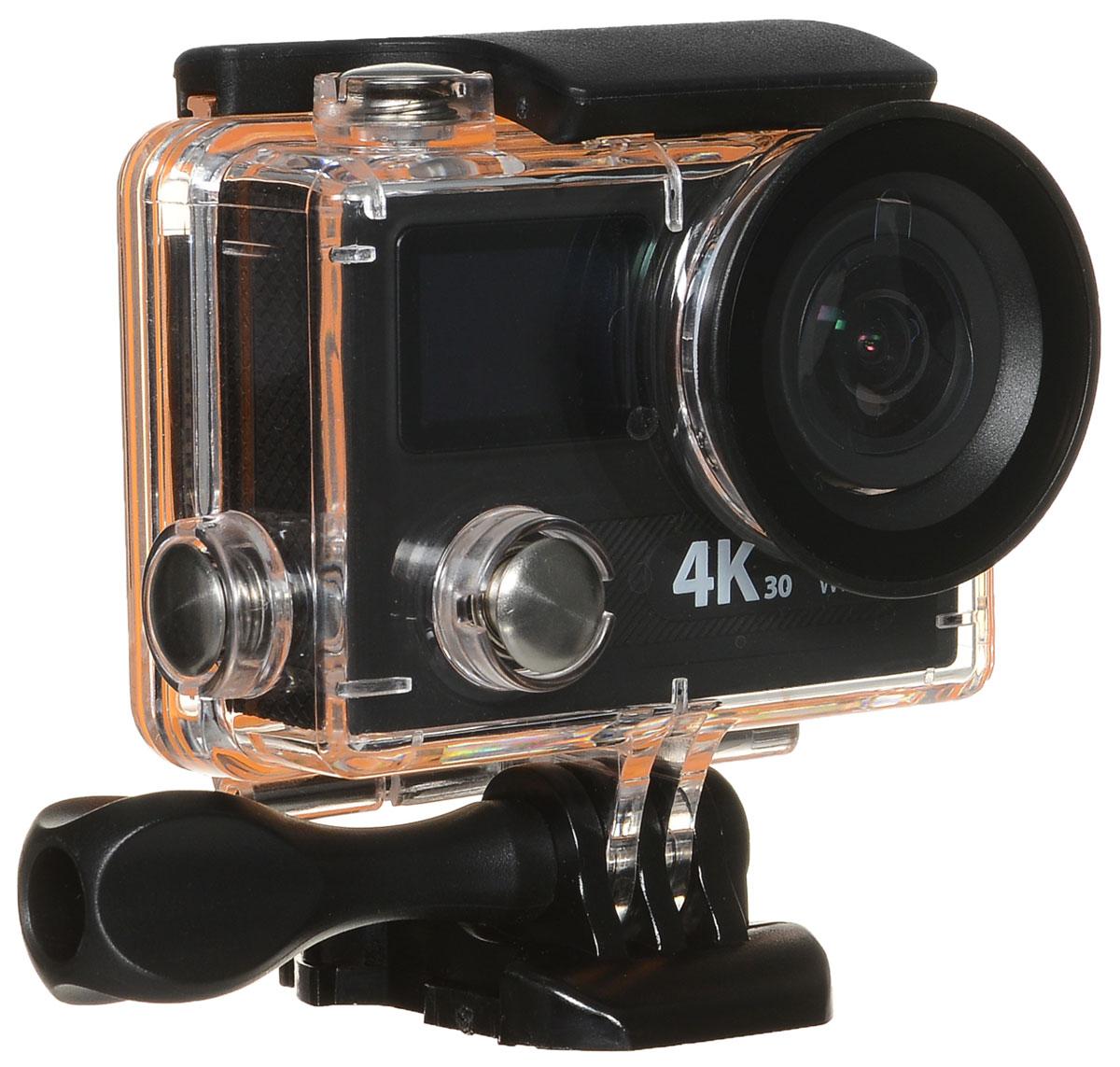 Eken H8 PRO Ultra HD экшн камера, чернаяH8PROЭкшн-камера Eken H8 PRO Ultra HD позволяет записывать видео с разрешением 4К и очень плавным изображением до 30 кадров в секунду. Камера имеет два дисплея: 2 TFT LCD основной экран и 0.95 OLED экран статуса (уровень заряда батареи, подключение к Wi-Fi, режим съемки и длительность записи). Эта модель сделана для любителей спорта на улице, подводного плавания, скейтбординга, скай-дайвинга, скалолазания, бега или охоты. Снимайте с руки, на велосипеде, в машине и где угодно. По сравнению с предыдущими версиями, в Eken H8 PRO Ultra HD вы найдете уменьшенные размеры корпуса, увеличенный до 2-х дюймов экран, невероятную оптику и фантастическое разрешение изображения при съемке 30 кадров в секунду!Управляйте вашей H8 PRO на своем смартфоне или планшете. Приложение Ez iCam App позволяет работать с браузером и наблюдать все то, что видит ваша камера. В комплекте с камерой идет пульт ДУ работающий на частоте 2,4 Ггц. Он позволяет начинать и заканчивать съемку удаленно.Чипсет: Ambarella A12Сенсор: Sony IMX078Батарея: 1050 мАч