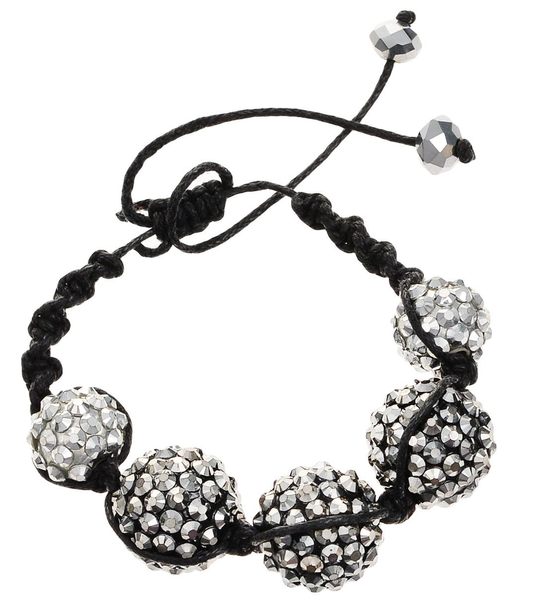 Браслет женский Art-Silver, цвет: черный, серебряный. 22260-340Браслет для шармовБраслет на текстильной нитке от Art-Silver декорирован стразами. Модель со скользящим узлом.