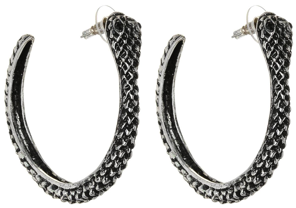 Серьги Art-Silver, цвет: серебряный. 36672-286Серьги-кольцаСерьги-кольца Art-Silver выполнены из бижутерного сплава. Декоративный элемент дополнен вставками из циркона. Изделие застегивается с помощью замка-гвоздика с заглушкой.