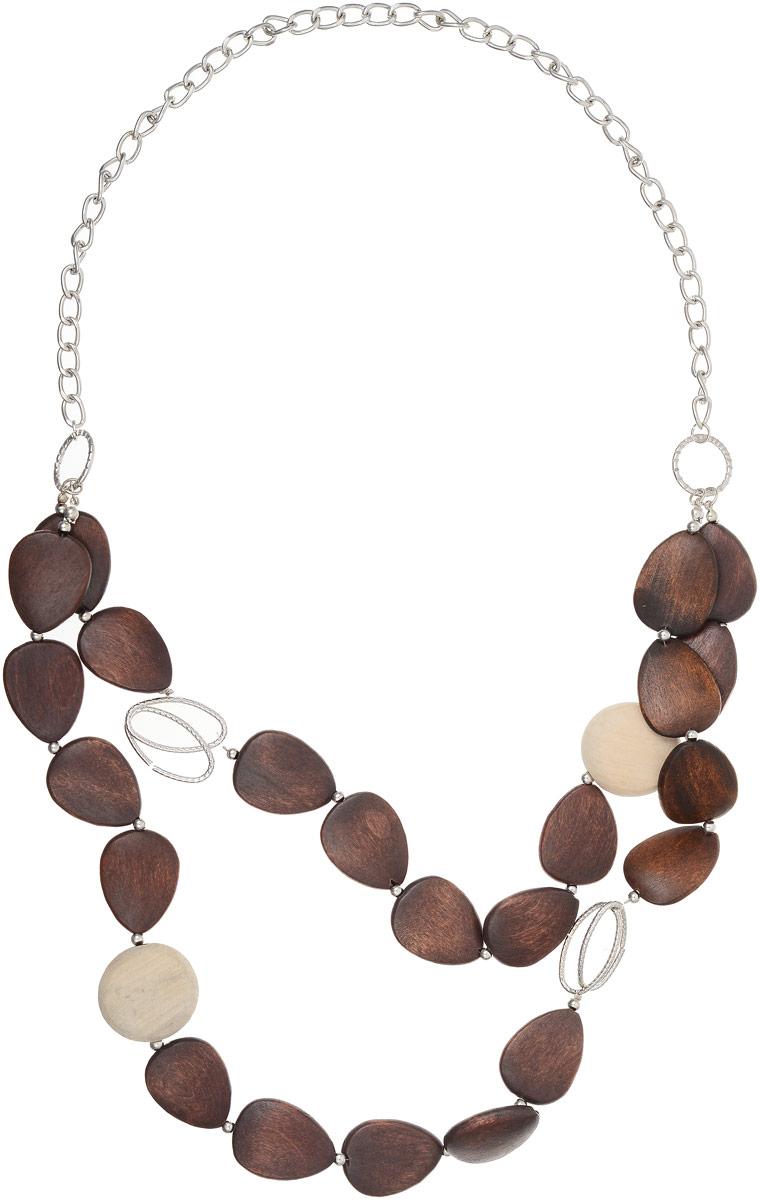Колье Art-Silver, цвет: коричневый. 13606313-682Колье (короткие одноярусные бусы)Колье Art-Silver выполнено из бижутерного сплава, оформлено цепочкой с крупным плетением и дополнено деревянными элементами.