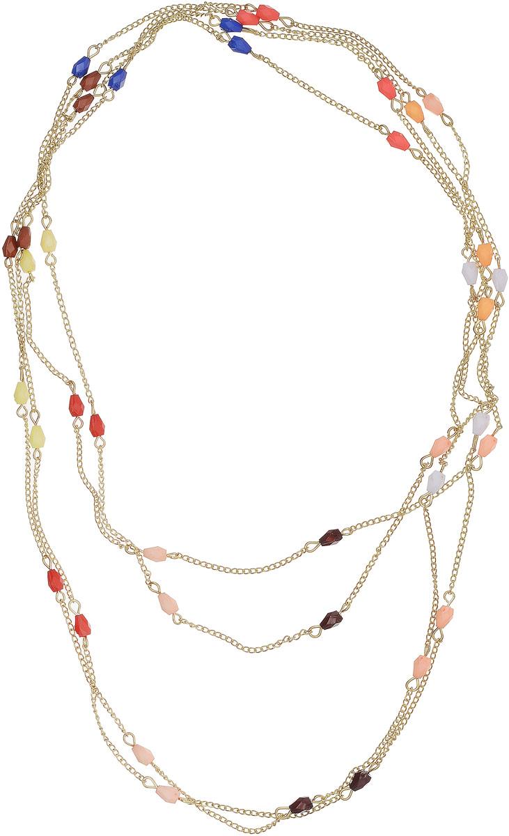 Ожерелье Art-Silver, цвет: золотой. 419-398Колье (короткие одноярусные бусы)Ожерелье Art-Silver выполнено из бижутерного сплава с позолотой, дополнено бусинами из полимера.