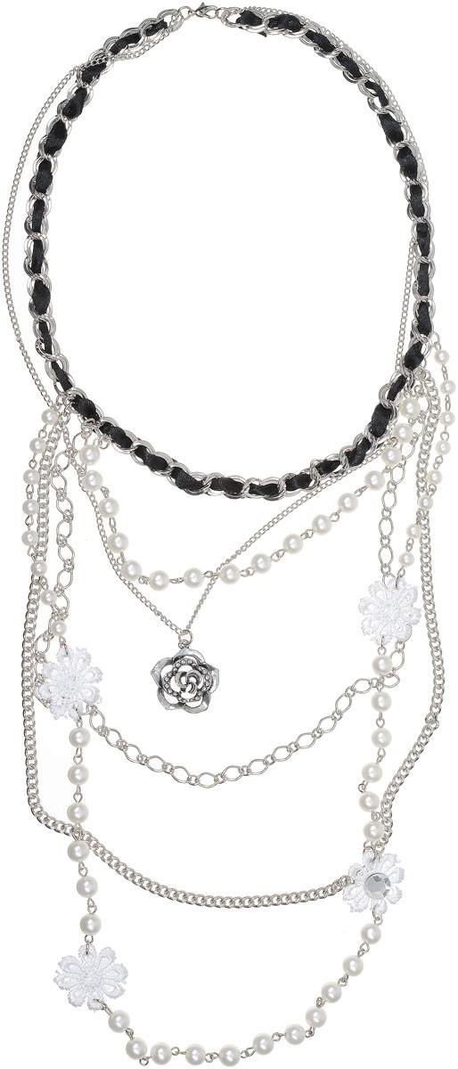 Колье Art-Silver, цвет: белый. 7538-514Колье (короткие одноярусные бусы)Колье Art-Silver выполнено из бижутерного сплава. Центральная часть дополнена элементамииз текстиля, жемчуга и кристаллов. Застегивается колье на карабин.