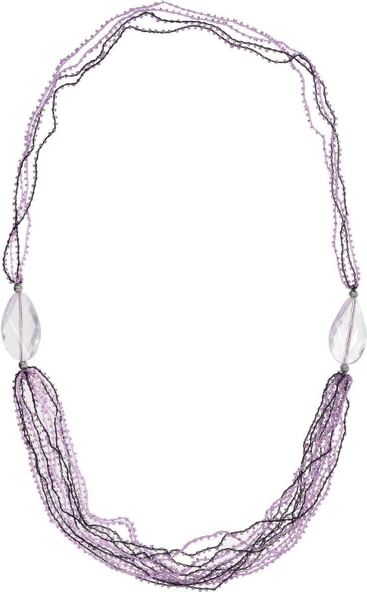 Ожерелье Art-Silver, цвет: фиолетовый. 28882-320Колье (короткие одноярусные бусы)Ожерелье Art-Silver на текстильной нитке оформлено полимерными и металиическими бусинами, дополнено бисером.