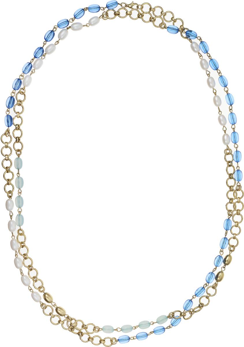 Ожерелье Art-Silver, цвет: синий, белый. 0382Ф-382Брошь-булавкаОжерелье Art-Silver выполнено из бижутерного сплава, оформлено полимерными бусинами и жемчугом.