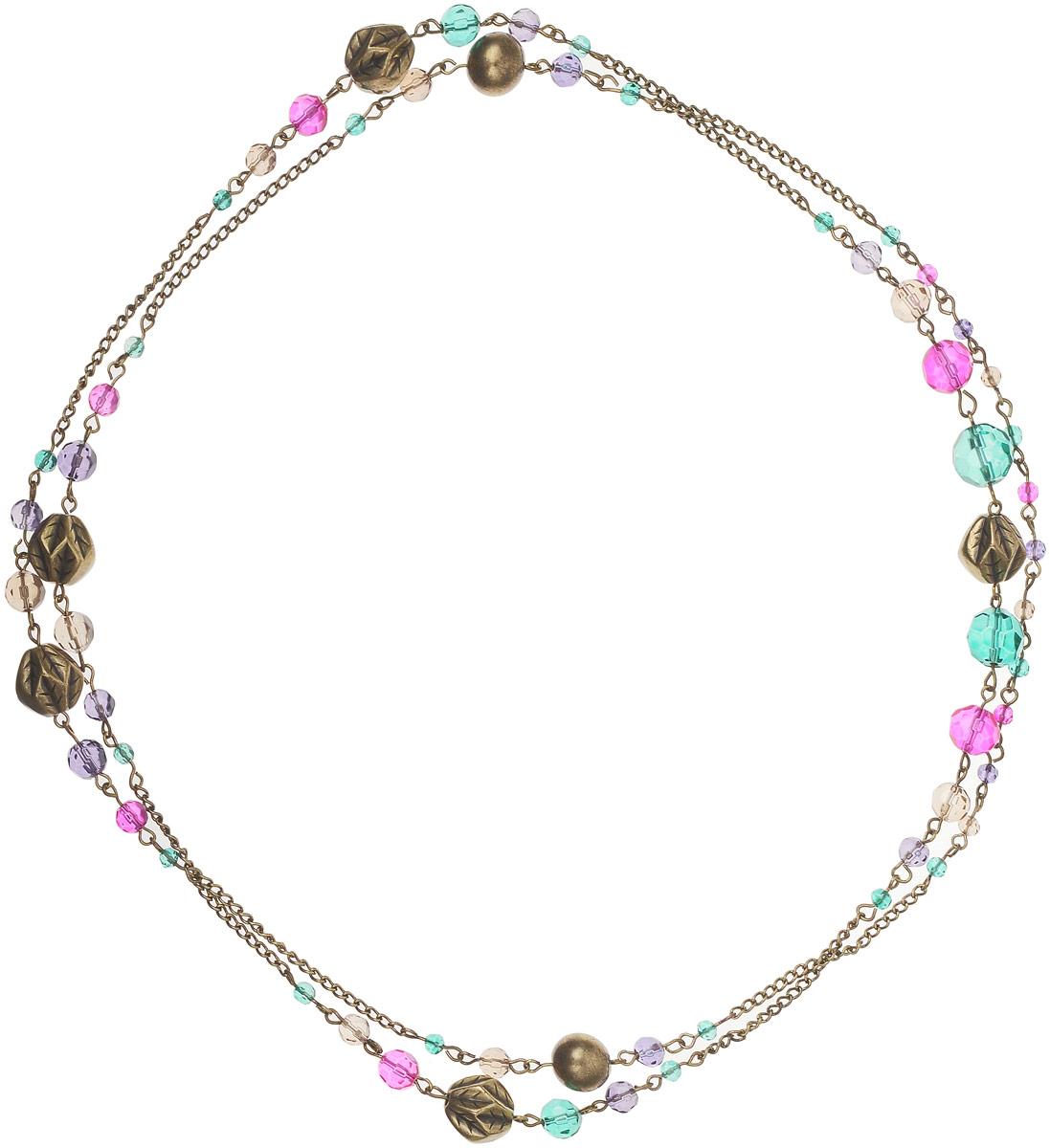 Ожерелье Art-Silver, цвет: золотой. 44097-396Колье (короткие одноярусные бусы)Ожерелье Art-Silver выполнено из бижутерного сплава, оформлено крупными бусинами и кристаллами.