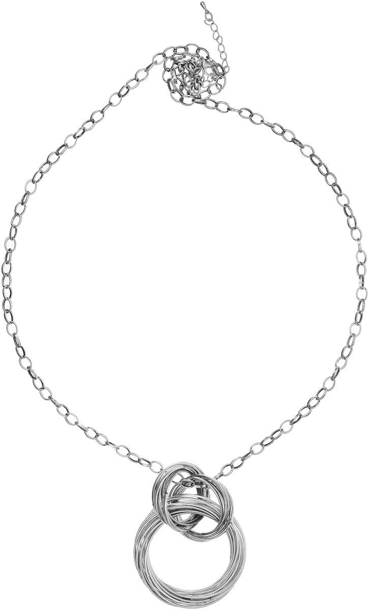 Колье Art-Silver, цвет: серебряный. 43907-292Колье (короткие одноярусные бусы)Колье Art-Silver выполнено из бижутерного сплава. Цепочка крупного плетения дополнена массивным элементом из колец. Модель застегивается на карабин, регулируется по длине.