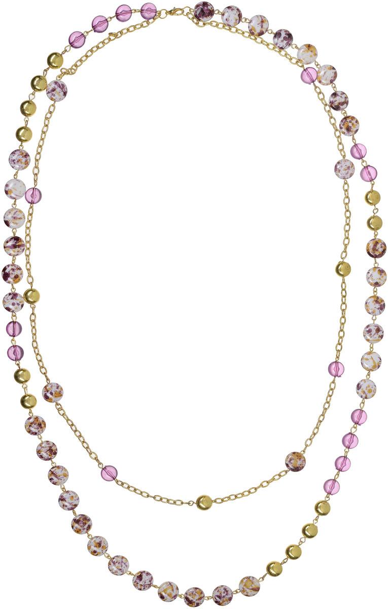 Ожерелье Art-Silver, цвет: золотой, фиолетовый. 3820-382Колье (короткие одноярусные бусы)Ожерелье Art-Silver выполнено из бижутерного сплава с позолотой и дополнено элементами из полимера. Модель с двумя ярусами, застегивается на карабин.