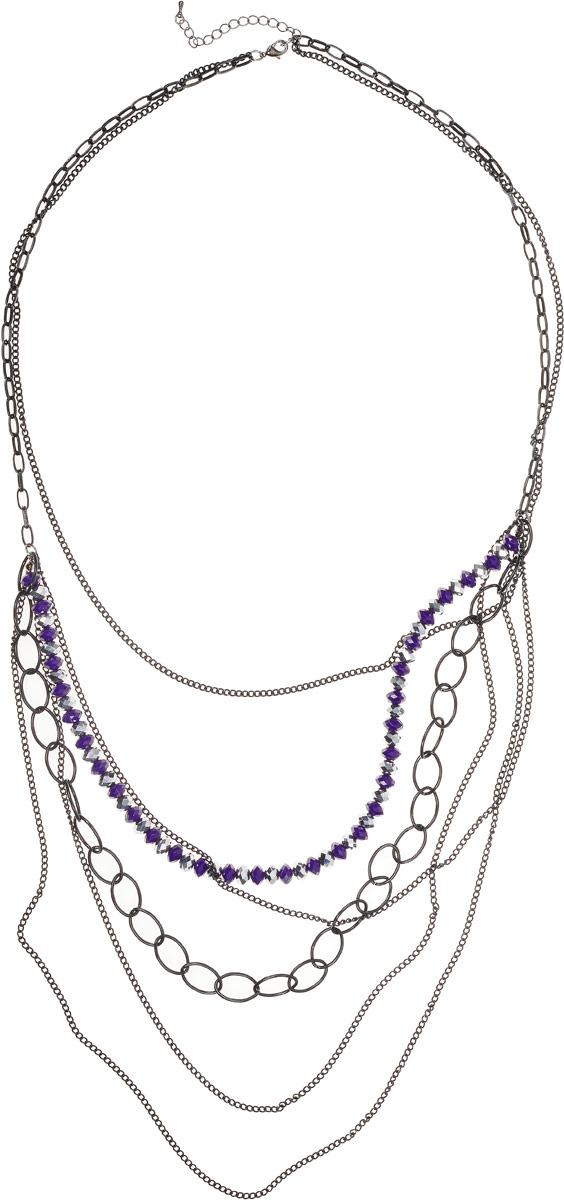 Колье Art-Silver, цвет: черный, фиолетовый. 39263-360Колье (короткие одноярусные бусы)Колье Art-Silver выполнено из бижутерного сплава, оформлено нитью с бусинами и цепями. Модель застегивается на карабин и регулируется по длине.