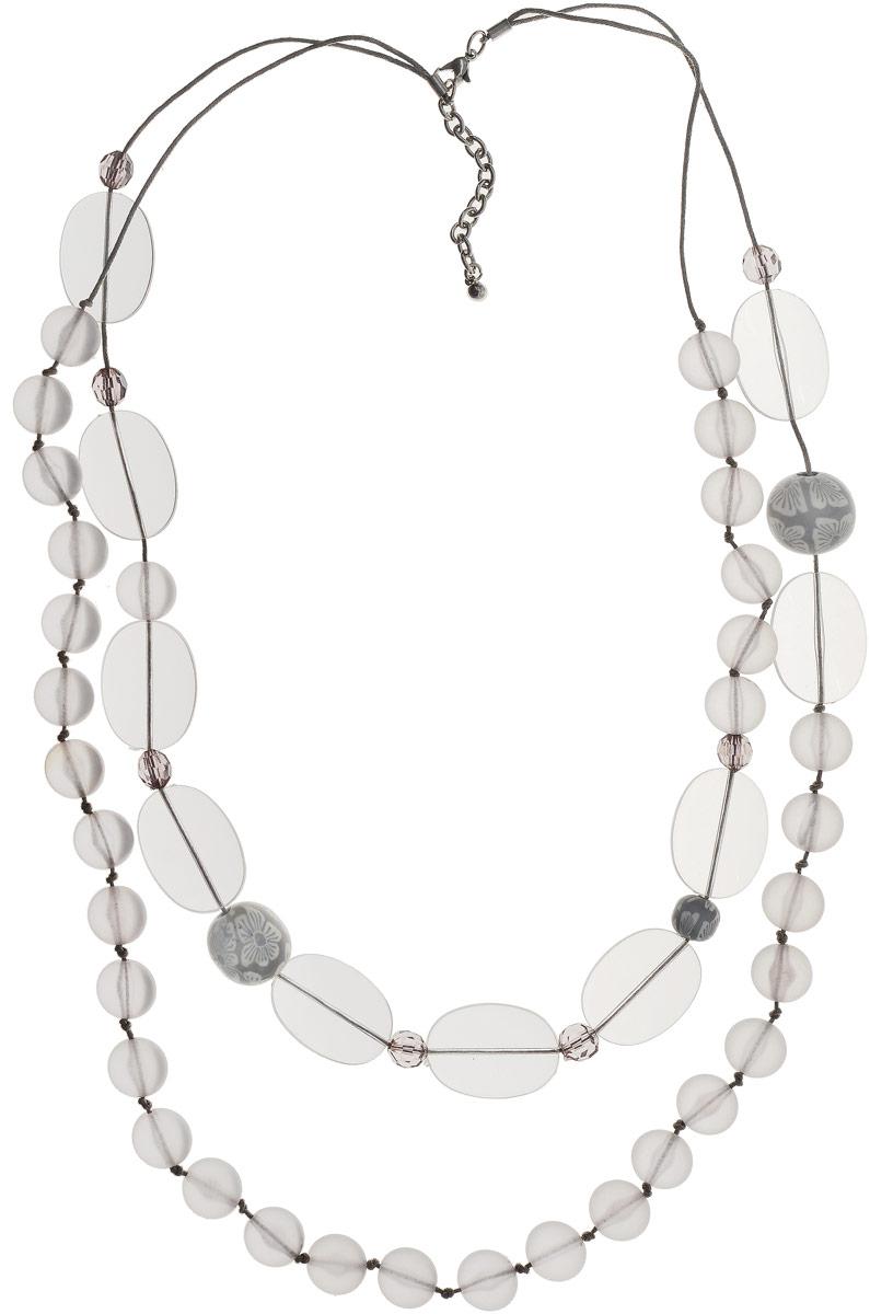Ожерелье Art-Silver, цвет: серый. 27988-450Бусы-ошейникОжерелье Art-Silver выполнено из бижутерного сплава, оформлено крупными бусинами и кристаллами. Модель застегивается на карабин и регулируется по длине.
