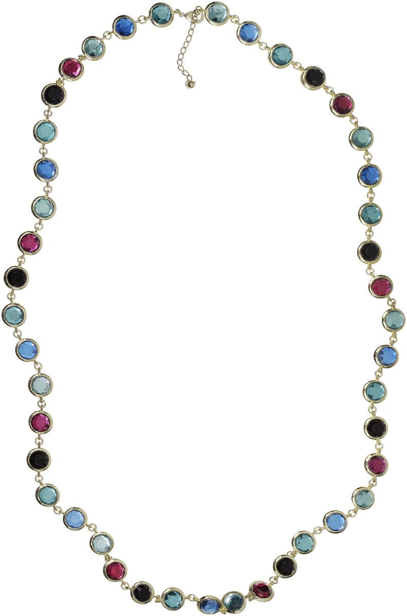 Ожерелье Art-Silver, цвет: золотой. 27158-554Бусы-ошейникКолье Art-Silver выполнено из бижутерного сплава с позолотой и дополнено вставками с кристаллами. Модель застегивается на карабин и регулируется по длине.