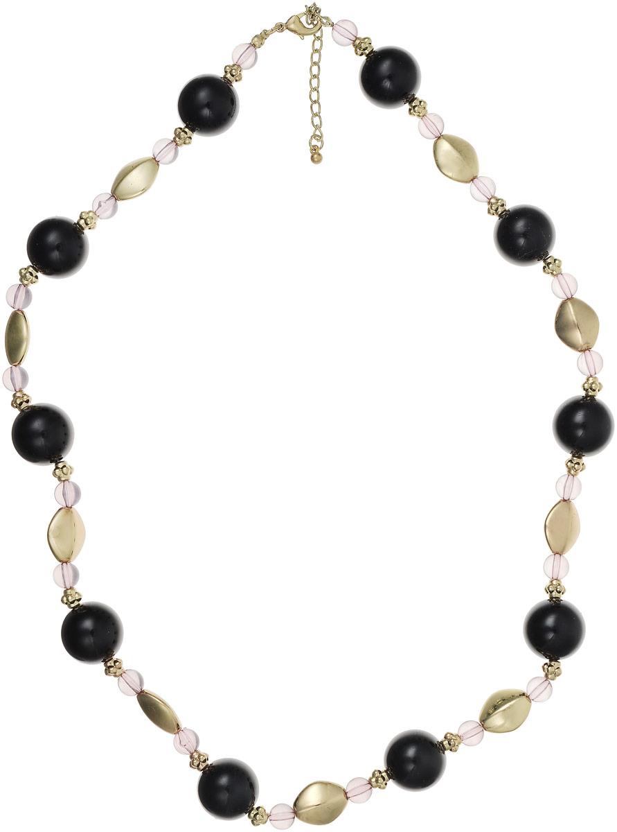Ожерелье Art-Silver, цвет: черный, золотой. 25873-366Колье (короткие одноярусные бусы)Ожерелье Art-Silver на основе из текстильной нитки состоит из полимерных бусин оригинальной формы. Фурнитура изготовлена из бижутерного сплава. Модель застегивается на карабин, регулируется по длине.