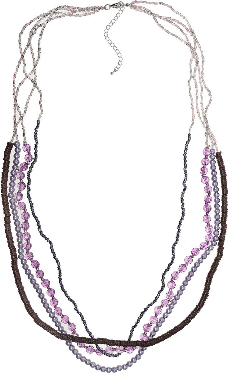 Ожерелье Art-Silver, цвет: сиреневый. 36876-358Колье (короткие одноярусные бусы)Ожерелье Art-Silver выполнено из бижутерного сплава, состоит из четырех ярусов, оформлено кристаллами и бисером. Модель застегивается на карабин и регулируется по длине.