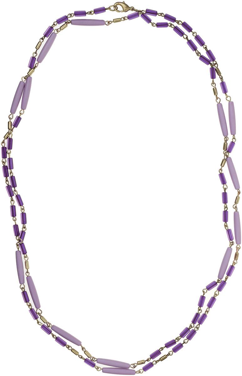 Ожерелье Art-Silver, цвет: фиолетовый. 25771-276Колье (короткие одноярусные бусы)Ожерелье Art-Silver выполнено из бижутерного сплава и дополнено элементами из полимера. Модель застегивается на карабин.