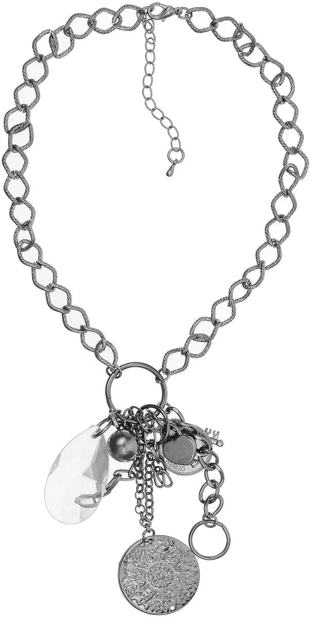 Колье Art-Silver, цвет: серебряный. 39144-434Колье (короткие одноярусные бусы)Колье Art-Silver с крупной цепью выполнено из бижутерного сплава, центр оформлен множеством оригинальных эелементов. Модель застегивается на карабин, регулируется по длине.