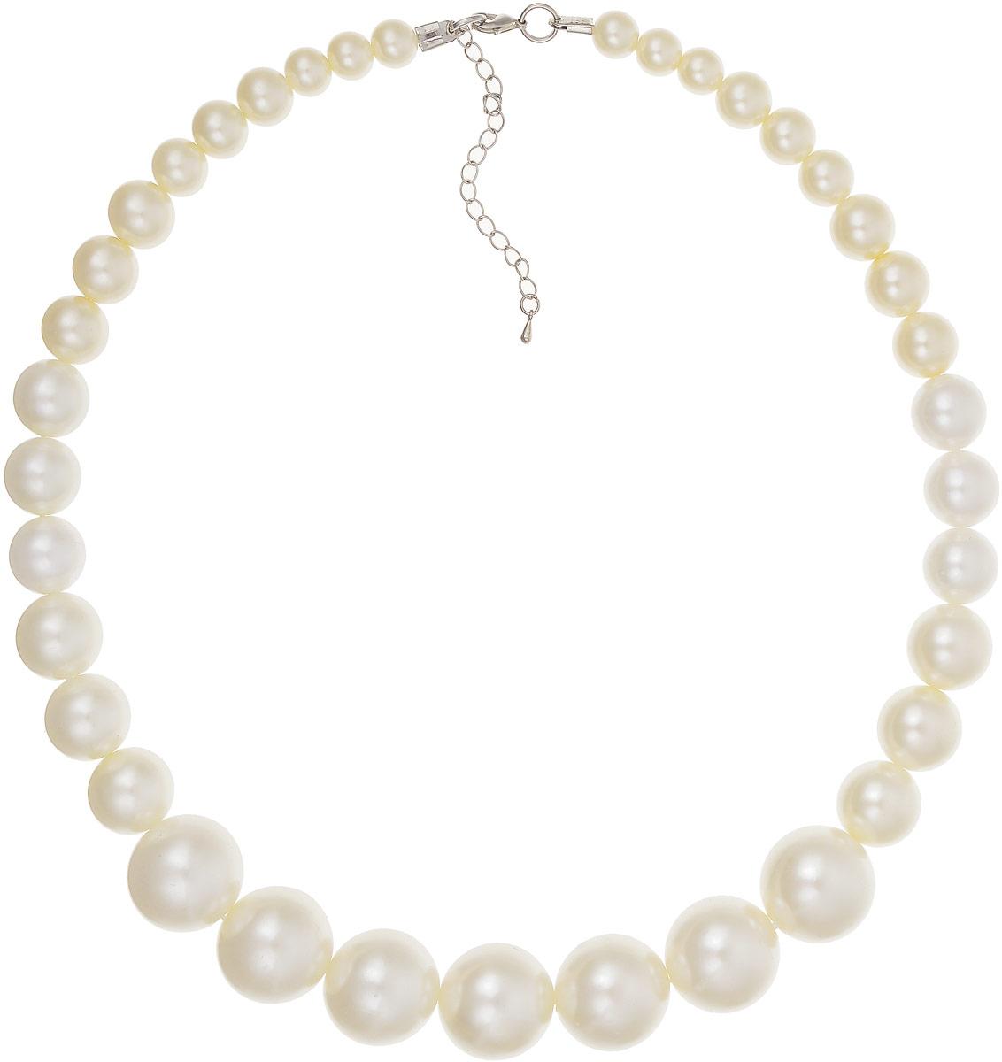 Ожерелье Art-Silver, цвет: белый. 23117-292Колье (короткие одноярусные бусы)Ожерелье Art-Silver выполнено из жемчуга разных разного размера. Модель застегивается на карабин и регулируется по длине.
