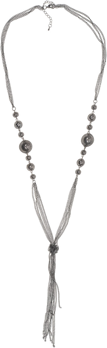 Колье Art-Silver, цвет: темно-серый. 35967-434Колье (короткие одноярусные бусы)Колье Art-Silver выполнено из бижутерного сплава, оформлено крупными бусинами и цепочками с мелким плетением, завязанными вузел. Модель застегивается на карабин и регулируется по длине.