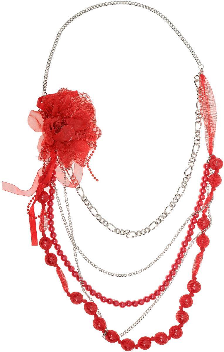 Колье Art-Silver, цвет: красный. 10007913-518Колье (короткие одноярусные бусы)Колье Art-Silver выполнено из бижутерного сплава, оформлено крупными бусинами и цепочками. Изделие дополнено крупным текстильным цветком.