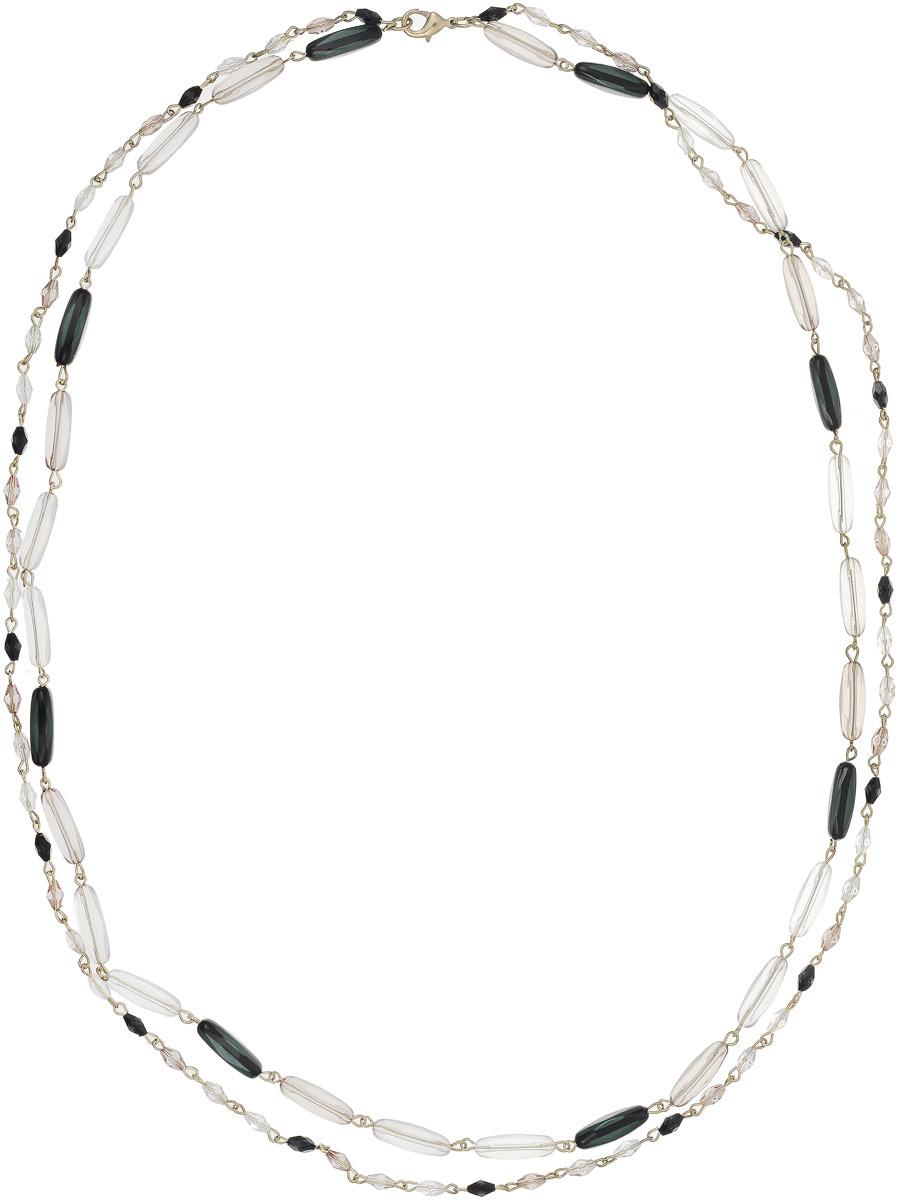 Ожерелье Art-Silver, цвет: черный, прозрачный. 25903-334Колье (короткие одноярусные бусы)Ожерелье Art-Silver выполнено из бижутерного сплава и дополнено элементами из полимера. Модель состоит из двух нитей и застегивается на карабин.