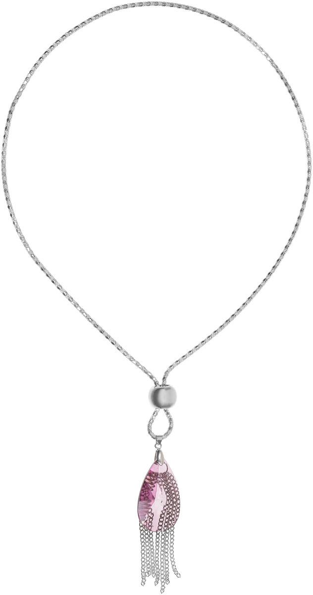 Колье Art-Silver, цвет: серебряный. 05807035-332Колье (короткие одноярусные бусы)Колье Art-Silver выполнено из бижутерного сплава и дополнено крупной полимерной каплей. Подвеска дополнена цепочками мелкого плетения.