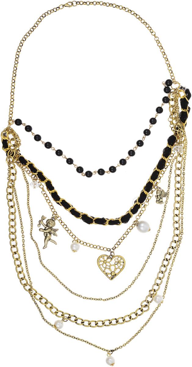 Колье Art-Silver, цвет: золотой. 7536-496Бусы-ошейникКолье Art-Silver выполнено из бижутерного сплава с позолотой, дополнено текстильным шнурком. Центральная часть оформлена ярусами из цепей разного плетения и бусин, декорированных искусственным жемчугом, кристаллами и подвесками.