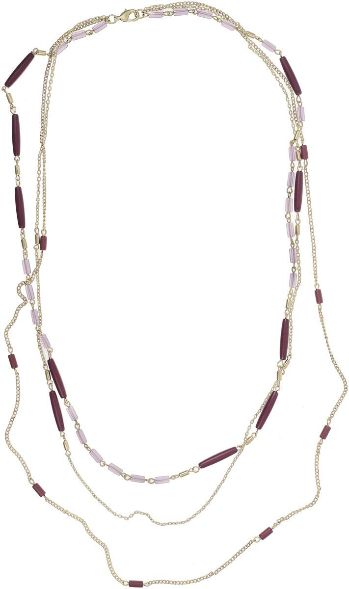 Ожерелье Art-Silver, цвет: фиолетовый. 25928-292Колье (короткие одноярусные бусы)Ожерелье Art-Silver выполнено из бижутерного сплава с позолотой, оформлено полимерными элементами. Модель застегивается на карабин.
