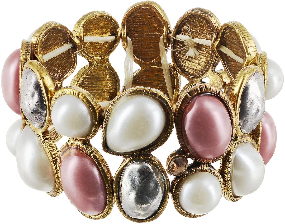 Браслет женский Art-Silver, цвет: золотой. 17645-794Глидерный браслетБраслет Art-Silver выполнен из бижутерного сплава с позолотой. Изделие с объемной фактурой элементов. Модель на эластичной резинке.