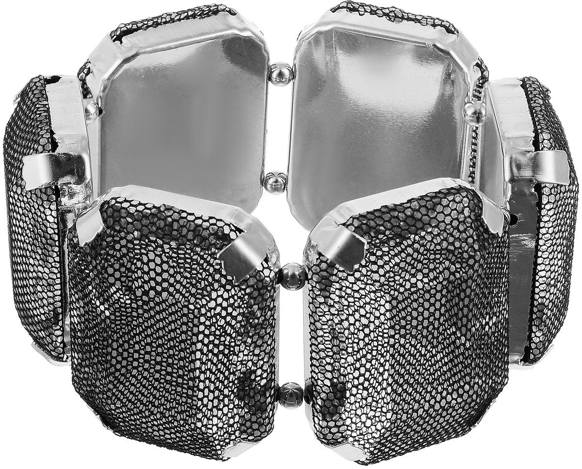 Браслет женский Art-Silver, цвет: серебряный, черный. 13096-234Брелок для ключейБраслет Art-Silver выполнен из бижутерного сплава и крупных кристаллов, дополненных сетчатым покрытием. Модель на эластичной резинке.