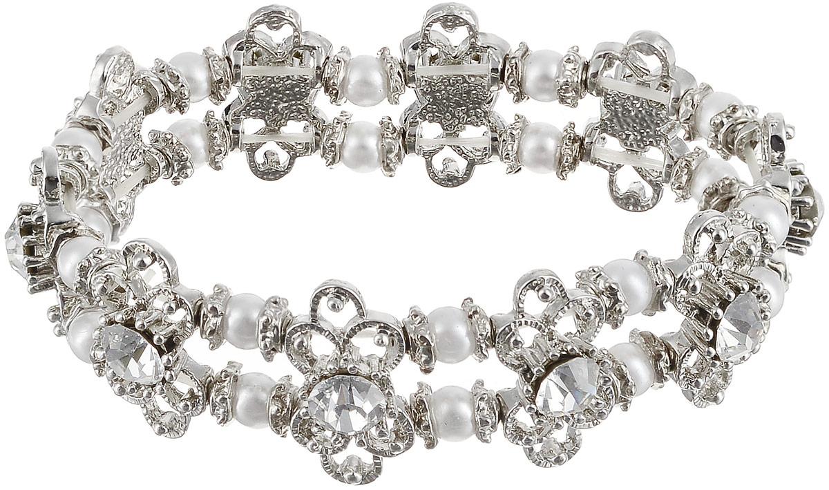 Браслет женский Art-Silver, цвет: серебряный. 11226-454Браслет с подвескамиРоскошный браслет Art-Silver выполнен из бижутерного сплава, дополнен вставками из жемчуга и циркона. Модель на эластичной резинке.
