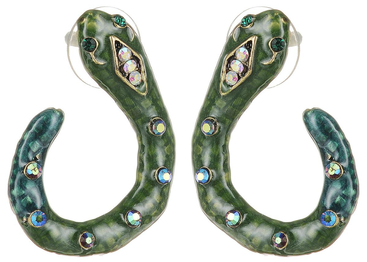 Серьги Art-Silver, цвет: темно-зеленый. 36592-348Серьги с подвескамиСерьги в виде змеек Art-Silver выполнены из бижутерного сплава. Декоративный элемент выполнен из полимерного материла и дополнен вставками из циркона. Изделие застегивается с помощью замка-гвоздика с заглушкой.