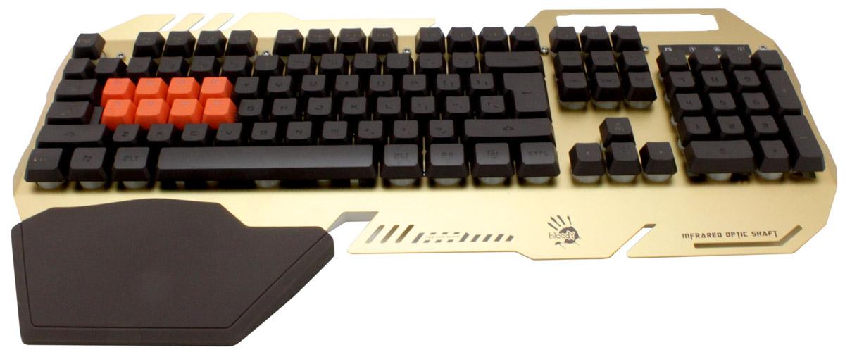 A4Tech Bloody B418 игровая клавиатура326279Bloody B418 - самая быстрая игровая клавиатура в мире с механическими переключателями на игровых клавишах. Благодаря инновационной Light Strike технологии скорость отклика клавиатуры составляет всего 0,2 мс. Клавиатура отличается безупречной управляемостью и абсолютной точностью.Идеальное оружие для борьбы с противником!Новые переключатели срабатывают на 30% быстрее, чем обычные механические переключатели.Полный ход клавиш равен 2,2 мм, ход до срабатывания — 1,5 мм. Ключевой особенностью продукта является двойная защита от воды. Благодаря водоотталкивающему покрытию и отверстиям для стока воды случайно пролитая жидкость на клавиатуру не выведет её из строя.Мягка настраиваемая подсветка обеспечивает идеальную видимость в темноте.Плотная подставка для кистей позволяет комфортабельно расположить руки на клавиатуре.Активация мультимедийных функций происходит путём одновременного нажатия клавиши Fn и любого элемента ряда F1–F7.После установки фирменного программного обеспеченияклавиатура обретает богатые функциональные возможности.С помощью удобного меню программного обеспечения на любую клавишу клавиатуры может быть назначена другая клавиша, кнопка мыши, кнопка управления медиаплеером/включения определённого приложения или запуск макроса.Всё зависит только от стиля игры и личных предпочтений игрока.