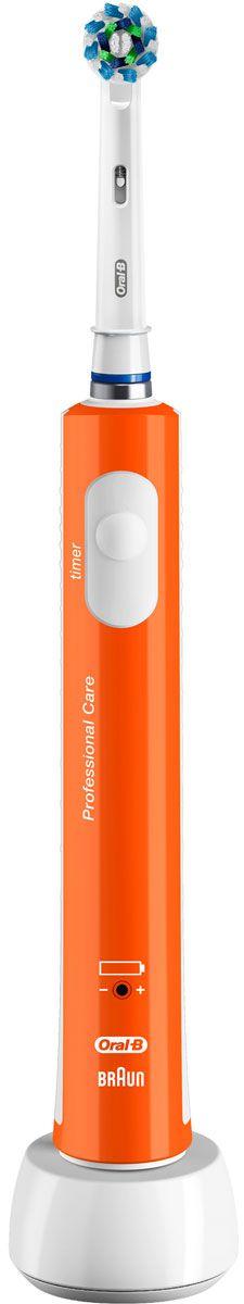 Oral-B 450 Cross Action, Orange электрическая зубная щетка81606323Электрическая зубная щетка Oral-B PRO 450 удаляет до двух раз больше зубного налета, чем мануальная зубная щетка. Благодаря профессионально разработанному дизайну насадки CrossAction, щетинки, расположенные под углом 16?, окружают каждый зуб, бережно удаляя налет даже из труднодоступных мест и вдоль линии десны.Комплектация: аккумуляторная электрическая зубная щетка оранжевого цвета с 1 режимом чистки: «Ежедневная чистка» (1 шт.), сменная насадка CrossAction (1 шт.), зарядное устройство (1 шт.)Подходит для детей с 3 лет.8800 возвратно-вращательных движений + 20000 пульсирующих движений.Перейдите на новый уровень чистки за 2 минуты!